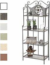 CLP ANIKA stabiles Standregal im Landhausstil   Klappbares robustes Eisenregal mit 4 Regalböden   In verschiedenen Farben erhältlich Bronze