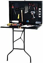 CLP Arbeitsbank WALLY, Werkzeugkasten & Werkbank, Werkzeugschrank klappbar, Werkstatteinrichtung, Schwarz
