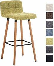 CLP Barhocker LINCOLN mit Stoffbezug und Holzgestell | Thekenhocker mit Rückenlehne und Fußstütze | Barstuhl mit einer Sitzhöhe von 75 cm | In verschiedenen Farben erhältlich Grün