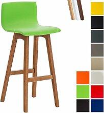 CLP Barhocker TAUNUS mit Kunstlederbezug und hochwertiger Polsterung | Tresenhocker mit einer Sitzhöhe von 72 cm | Thekenhocker mit Rückenlehne und Fußstütze Grün, Gestellfarbe: Walnuss