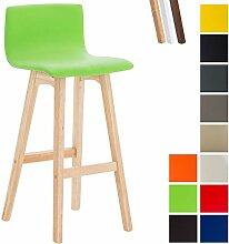 CLP Barhocker TAUNUS mit Kunstlederbezug und hochwertiger Polsterung | Tresenhocker mit einer Sitzhöhe von 72 cm | Thekenhocker mit Rückenlehne und Fußstütze Grün, Gestellfarbe: Natura