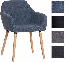 CLP Besucher-Stuhl ACHAT mit Armlehne, Stoffbezug, Holzgestell, modern Blau