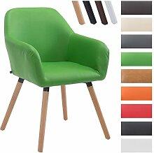 CLP Besucher-Stuhl ACHAT V2 mit Armlehne, max. Belastbarkeit 150 kg, Holz-Gestell, Kunstleder-Bezug, Sitzfläche gepolstert, mit Bodenschonern Grün, Gestellfarbe: Natura