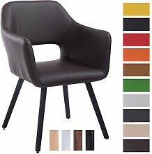 CLP Besucher-Stuhl AUCKLAND mit Armlehne, max. Belastbarkeit 160 kg, Holz-Gestell, Kunstleder-Bezug, Sitzfläche gepolstert, mit Bodenschonern Braun, Gestellfarbe: Schwarz