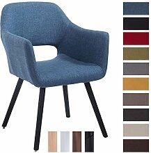 CLP Besucher-Stuhl AUCKLAND mit Armlehne, max. Belastbarkeit 160 kg, Holz-Gestell, Stoff-Bezug, Sitzfläche gepolstert, mit Bodenschonern Blau, Gestellfarbe: Schwarz