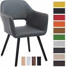 CLP Besucher-Stuhl AUCKLAND mit Armlehne, max. Belastbarkeit 160 kg, Holz-Gestell, Kunstleder-Bezug, Sitzfläche gepolstert, mit Bodenschonern Grau, Gestellfarbe: Schwarz