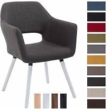 CLP Besucher-Stuhl AUCKLAND mit Armlehne, max. Belastbarkeit 160 kg, Holz-Gestell, Stoff-Bezug, Sitzfläche gepolstert, mit Bodenschonern Dunkelgrau, Gestellfarbe: Weiß