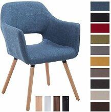 CLP Besucher-Stuhl AUCKLAND mit Armlehne, max. Belastbarkeit 160 kg, Holz-Gestell, Stoff-Bezug, Sitzfläche gepolstert, mit Bodenschonern Blau, Gestellfarbe: Natura