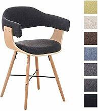 CLP Besucher-Stuhl BARRIE V2 Stoff, natura, mit Armlehne, gepolstert, Holzgestell, modern Dunkelgrau