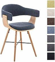 CLP Besucher-Stuhl BARRIE V2 Stoff, natura, mit Armlehne, gepolstert, Holzgestell, modern Blau