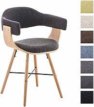 CLP Besucher-Stuhl BARRIE V2 Stoff, natura, mit Armlehne, gepolstert, Holzgestell, modern Hellgrau