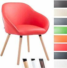 CLP Besucher-Stuhl HAMBURG mit Armlehne, max. Belastbarkeit 150 kg, Holz-Gestell, Kunstleder-Bezug, Sitzfläche gepolstert, mit Bodenschonern, Rot, Gestellfarbe: Natura