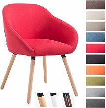 CLP Besucher-Stuhl HAMBURG mit Armlehne, max. Belastbarkeit 150 kg, Holz-Gestell, Stoff-Bezug, Sitzfläche gepolstert, mit Bodenschonern, Rot, Gestellfarbe: Natura