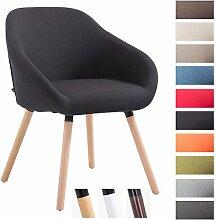 CLP Besucher-Stuhl HAMBURG mit Armlehne, max. Belastbarkeit 150 kg, Holz-Gestell, Stoff-Bezug, Sitzfläche gepolstert, mit Bodenschonern, Schwarz, Gestellfarbe: Natura