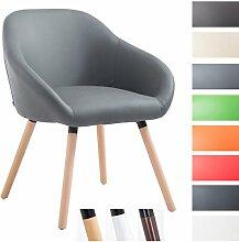 CLP Besucher-Stuhl HAMBURG mit Armlehne, max. Belastbarkeit 150 kg, Holz-Gestell, Kunstleder-Bezug, Sitzfläche gepolstert, mit Bodenschonern, Grau, Gestellfarbe: Natura