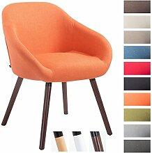 CLP Besucher-Stuhl HAMBURG mit Armlehne, max. Belastbarkeit 150 kg, Holz-Gestell, Stoff-Bezug, Sitzfläche gepolstert, mit Bodenschonern, Orange, Gestellfarbe: Walnuss