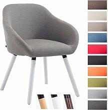 CLP Besucher-Stuhl HAMBURG mit Armlehne, max. Belastbarkeit 150 kg, Holz-Gestell, Stoff-Bezug, Sitzfläche gepolstert, mit Bodenschonern, Grau, Gestellfarbe: Weiß