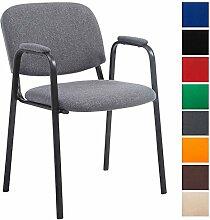 CLP Besucher-Stuhl KEN PRO mit gepolsterter Armlehne, Stoff-Bezug, Warteraumstuhl, Konferenzstuhl, Messestuhl, stabiles Stahl-Gestell, max. Belastbarkeit 120 kg, Grau