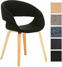 CLP Besucher-Stuhl PANO mit Armlehne, gepolstert, Holzgestell, modern Schwarz