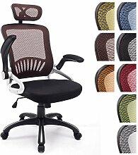CLP Büro-Stuhl JUSTIN mit Kopfstütze, Netzbezug, Schreibtischstuhl, Drehstuhl, Armlehnen klappbar, Kunststoff-Gestell, höhenverstellbar, Wippfunktion, Braun