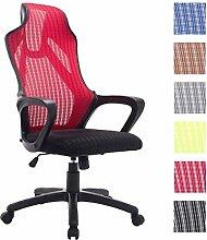 CLP Büro-Stuhl QUINCY mit Netzbezug, mit Armlehne, stufenlos höhenverstellbar, Schreibtischstuhl ergonomisch geformt, Drehstuhl, Relaxsessel Ro