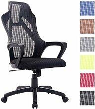 CLP Büro-Stuhl QUINCY mit Netzbezug, mit Armlehne, stufenlos höhenverstellbar, Schreibtischstuhl ergonomisch geformt, Drehstuhl, Relaxsessel Schwarz