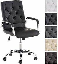 CLP Chefsessel LEROY, höhenverstellbarer Bürostuhl, sehr hochwertige Polsterung Schwarz
