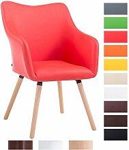 CLP Design Besucher-Stuhl MCCOY V2 mit Kunstlederbezug, max. Belastbarkeit 160 kg, Esszimmerstuhl mit Holzgestell, gepolstert Rot, Gestellfarbe: natura