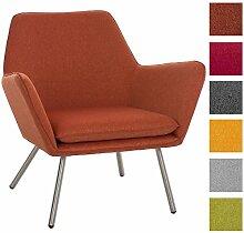 CLP Design Edelstahl Lounge-Sessel CARACAS, Stoffbezug, Polsterstärke 6 cm, Sitzhöhe 40 cm Orange