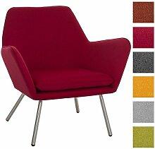 CLP Design Edelstahl Lounge-Sessel CARACAS, Stoffbezug, Polsterstärke 6 cm, Sitzhöhe 40 cm Ro