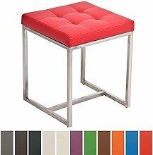 CLP Design Edelstahl Sitz-Hocker BARCI, 40 x 40 cm, Sitzhöhe 48 cm, gepolstert Ro