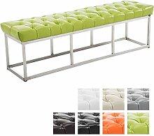 CLP Design Edelstahl Sitzbank AMUN mit Kunstleder-Bezug, Sitzhöhe ca. 45 cm, gepolstert und gesteppt Grün, 150 x 40 x 45 cm
