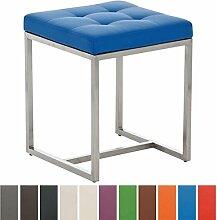 CLP Design Edelstahl Sitzhocker BARCI mit Kunstlederbezug   Ohne Lehne mit Bodenschonern   Sitzhöhe 48 cm   Stabiler moderner Hocker mit hochwertiger Polsterung   In verschiedenen Farben erhältlich Blau