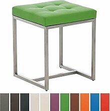 CLP Design Edelstahl Sitzhocker BARCI mit Kunstlederbezug   Ohne Lehne mit Bodenschonern   Sitzhöhe 48 cm   Stabiler moderner Hocker mit hochwertiger Polsterung   In verschiedenen Farben erhältlich Grün