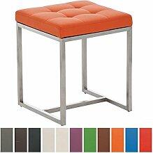 CLP Design Edelstahl Sitzhocker BARCI mit Kunstlederbezug   Ohne Lehne mit Bodenschonern   Sitzhöhe 48 cm   Stabiler moderner Hocker mit hochwertiger Polsterung   In verschiedenen Farben erhältlich Orange