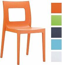 CLP Design Gartenstuhl, Küchenstuhl, Stapelstuhl LUCCA XXL, 160 kg max. Belastbarkeit Orange