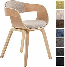 CLP Design Holz-Stuhl mit Armlehne KINGSTON Besucher-Stuhl gepolstert, Stoffbezug Stoff: creme / Gestell: natura