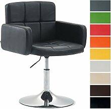 CLP Design Lounge Sessel LOS ANGELES mit Kunstleder-Bezug, Lounger drehbar / höhenverstellbar, Esszimmerstuhl mit Trompetenfuß in Chromoptik Schwarz