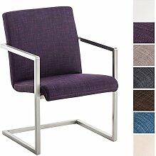 CLP Edelstahl Design Freischwinger-Stuhl JAVA Stoff-Bezug, Besucherstuhl mit Armlehne, gepolsterte Sitzfläche Lila