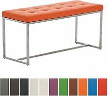 CLP Edelstahl Küchenbank BARCI mit hochwertiger Polsterung und pflegeleichtem Kunstlederbezug | Moderne 2er Sitzbank für das Esszimmer, Küche und Büro | Sitzhöhe 48 cm Orange