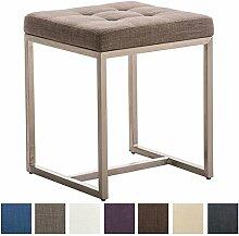 CLP Edelstahl Sitzhocker BARCI mit STOFF-Bezug, 40 x 40 cm, Sitzhöhe 48 cm, bis zu 8 FARBEN wählbar Grau