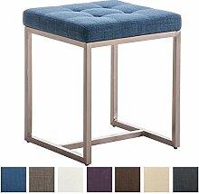 CLP Edelstahl Sitzhocker BARCI mit Stoffbezug und hochwertiger Polsterung, 40 x 40 cm, Sitzhöhe 48 cm, bis zu 8 Farben wählbar, Blau