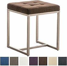 CLP Edelstahl Sitzhocker BARCI mit Stoffbezug und hochwertiger Polsterung, 40 x 40 cm, Sitzhöhe 48 cm, bis zu 8 Farben wählbar, Braun