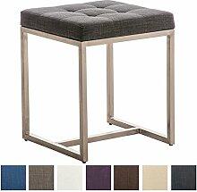 CLP Edelstahl Sitzhocker BARCI mit Stoffbezug und hochwertiger Polsterung, 40 x 40 cm, Sitzhöhe 48 cm, bis zu 8 Farben wählbar, Dunkelgrau