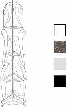 CLP Eisen-Eckregal IRMA | Stabiles Klappregal mit vier Ablagen | Dekoregal im Landhausstil | In verschiedenen Farben erhältlich Antik Weiß