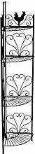 CLP Eisen-Eckregal MARIE | Stabiles Klappregal mit vier Ablagen | Dekoregal im Landhausstil | In verschiedenen Farben erhältlich Schwarz