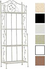 CLP Eisen-Regal ARONA, klappbar, pulverbeschichtet, ca. 60 x 30 cm, Höhe ca. 160 cm, 4 Böden, Landhausstil Antik Weiß