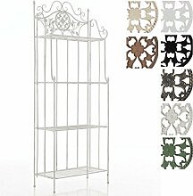CLP Eisen-Regal FLORA antik, Landhausstil, pulverbeschichtet, 4 Böden, ca. 65 x 30 cm, Höhe 175 cm Antik Weiß