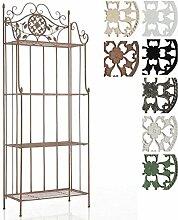 CLP Eisen-Regal FLORA antik, Landhausstil, pulverbeschichtet, 4 Böden, ca. 65 x 30 cm, Höhe 175 cm Antik Braun