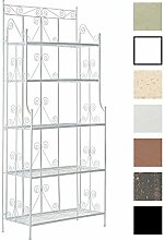 CLP Eisenregal CIARA, Metall-Standregal, 5 Böden, 170 x 75 x 35 cm, klappbar Antik Weiß